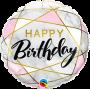 Happy Birthday - Marble Rectangles Foil Balloon