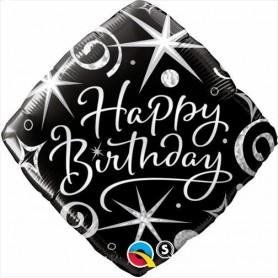 "Happy Birthday - Foil Diamond Elegant 18"""