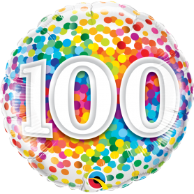 100 Rainbow Confetti Foil Balloon - 18in