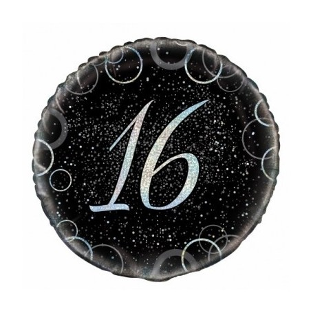 16th Birthday Black and Silver Foil Balloon
