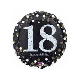 18th Holographic Sparkling Birthday - Foil Balloon 18in.