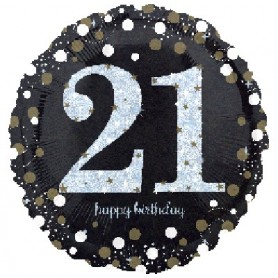 21st Holographic Sparkling Birthday - Foil Balloon 18""