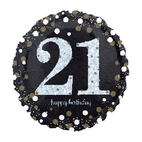 """21st Holographic Sparkling Birthday - Foil Balloon 18"""""""