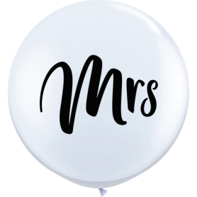 3ft Round White Latex Balloon (Mrs) - Pack of 2