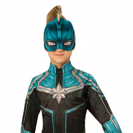 Captain Marvel Kree Suit Padded jumpsuit has an extended sleeve with thumb stirrup, a fabric belt, and fabric headpiece. freaky fx