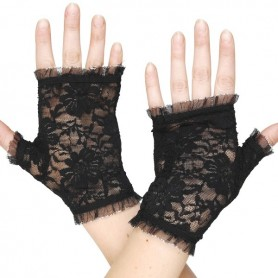 Lace Fingerless Gloves Black