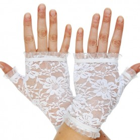 Lace Fingerless Gloves - White