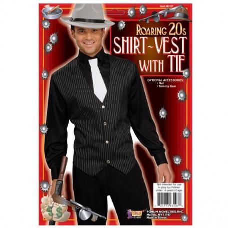 Gangster Shirt, Vest & Tie Pinstripe - One Size