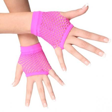 Hot Pink -Short Fishnet Fingerless Gloves