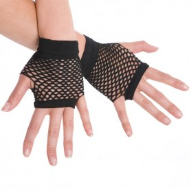 Black - Short Fishnet Fingerless Gloves
