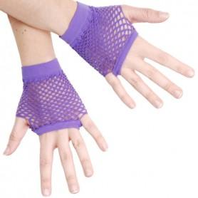 Purple - Short Fishnet Fingerless Gloves