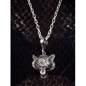 Wolf Pendant Necklace - Silver Metal