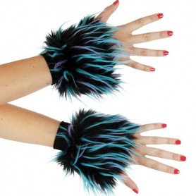 Furry Wrist Cuffs - Black, Purple, Blue (Monster Fluffy)