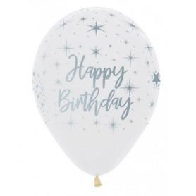 "Happy Birthday Radiant Clear - 12"" Latex Balloon"