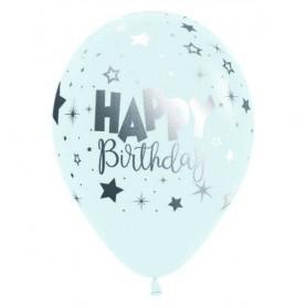 "Happy Birthday Fantasy White - 12"" Latex Balloon"