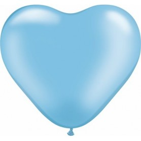 "Qualatex 6"" Heart Latex Balloon - Pearl Azure Blue"