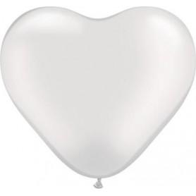 """Qualatex 6"""" Heart Latex Balloon - Pearl White"""