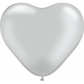 "Qualatex 6"" Heart Latex Balloon - Metallic Silver"