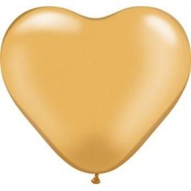 "Qualatex 6"" Heart Latex Balloon - Metallic Gold"