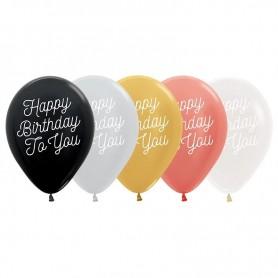 "Happy Birthday - 11"" Latex Balloon - Metallic ROSE GOLD"