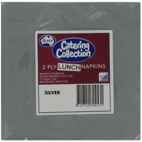 Silver Party Napkins - Lunch 2 ply Pk100