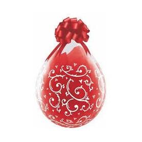 """Qualatex Stuffing Balloon 18"""" - Filigree & Hearts (Clear)"""