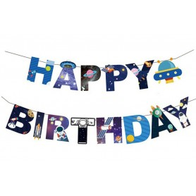 Happy Birthday Banner - Outer Space Theme