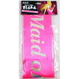Maid of Honour Sash - Hot Pink with Holographic Print