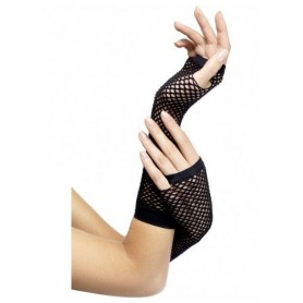 Black - Fishnet Fingerless Gloves - 26cm Long