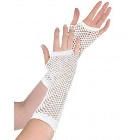 White Fishnet Long Fingerless Gloves - 26cm