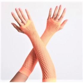 Neon Orange Long Fishnet Fingerless Gloves - 26cm