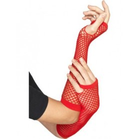 Red Long Fishnet Fingerless Gloves - 26cm