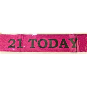 21 Today Sash - Hot Pink Glitter