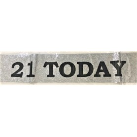 21 Today Sash - Silver Glitter