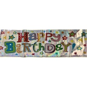 H'BDAY Colourful Holographic Banner 1.8m - Stars