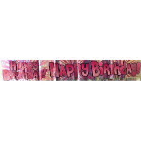 H'BDAY Pink Holographic Banner - 1.8m