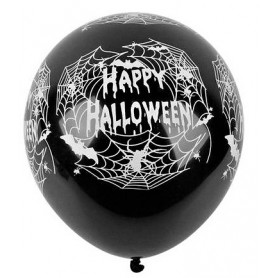 "Happy Halloween Spider Web Printed Latex 12"" Balloons - 10pk"