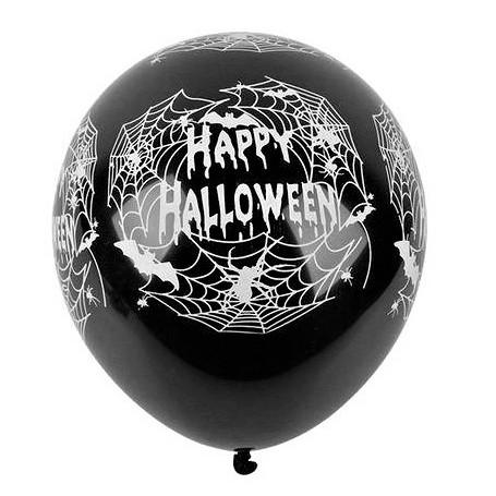 "Happy Halloween Spider Web Printed Latex 12"" Balloons - 10pk"