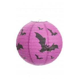 "Halloween Paper Lantern 12"" 30cm - Purple with Bats"