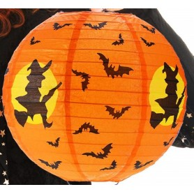 "Halloween Paper Lantern 12"" - Flying Witch & Bats"