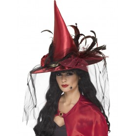 Deep Red Deluxe Witch Hat
