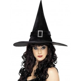 Witch Hat With Diamonte Buckle - Black
