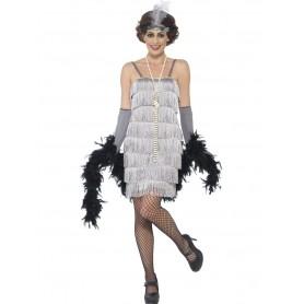 20s Gatsby Short Silver Flapper Dress Costume
