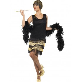 20s Gatsby Black and Gold Fringed Flapper Dress - Large