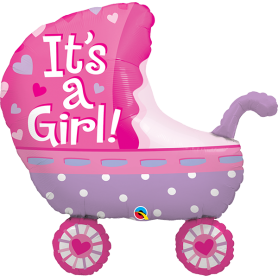 "It's a Girl Stroller - 35"" Foil Balloon"