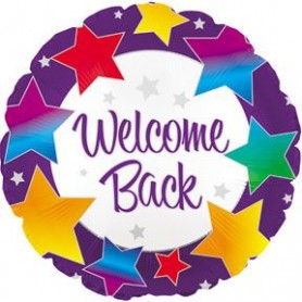 Welcome Back Rainbow Stars Foil Balloon - 45cm