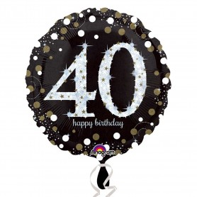 40th Holographic Sparkling Birthday - Foil Balloon 18""