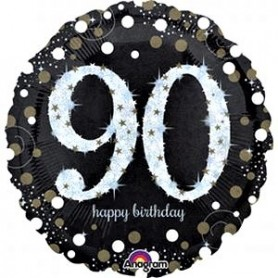 90th Holographic Sparkling Birthday - Foil Balloon 18""