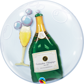 "Qualatex Double Bubble 60cm 24"" - Bubbly Wine Bottle"