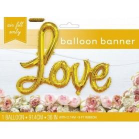 "Love Script 36"" Foil Balloon - Gold"